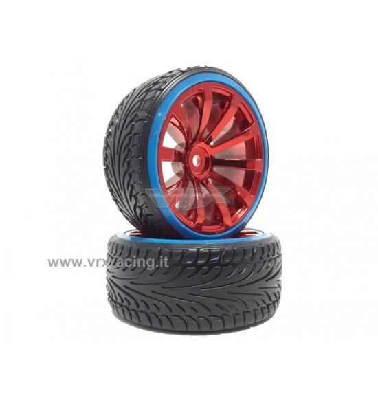 Coppia ruote complete di cerchio per drift 1-10 cromato rosso
