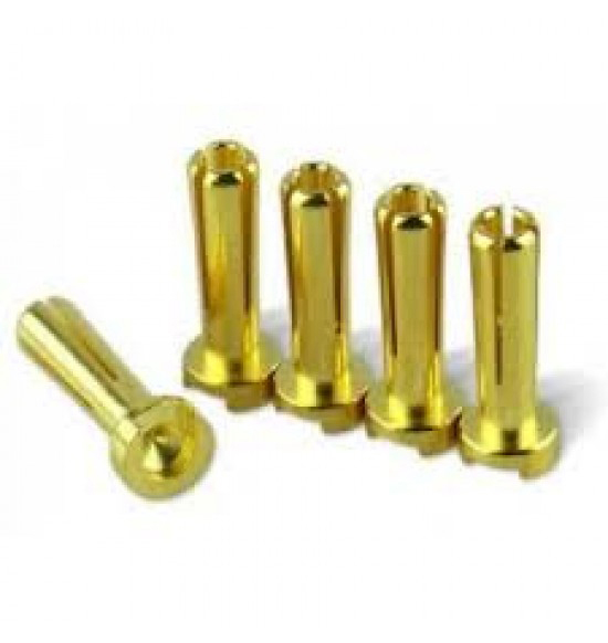 Connettori dorati piatti 4mm (5pz Maschio)