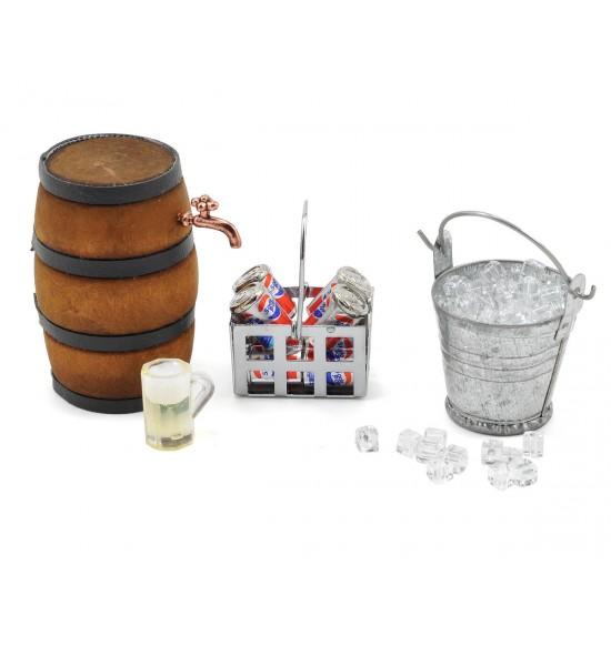 Accessori secchio con ghiaccio lattine bibita botte in legno