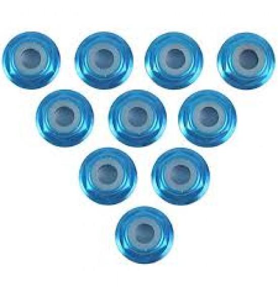 10 Dadi M3 flangiati autobloccanti in alluminio blu chiaro