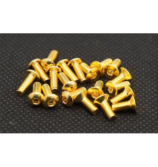 Vite alluminio color oro M3x6 testa svasata