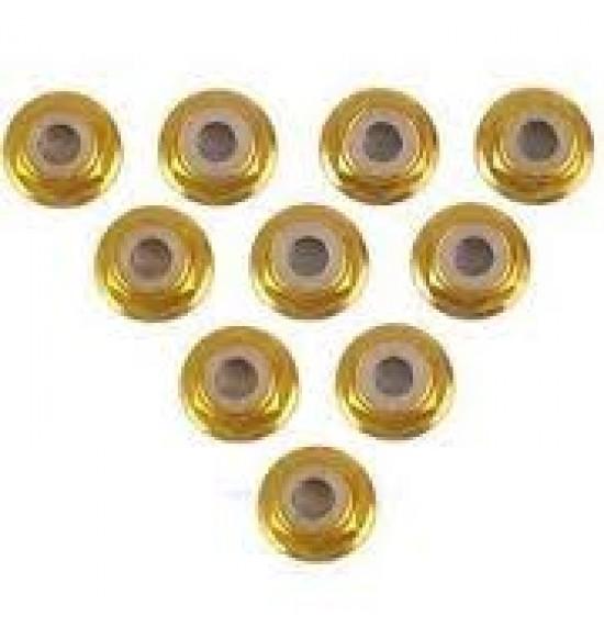 10 Dadi M4 flangiati autobloccanti in alluminio color oro